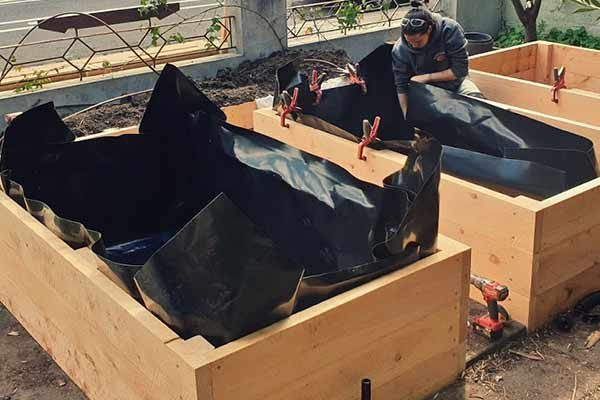 some veggie beds with plastic liner